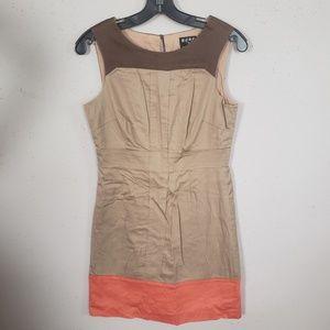 BCBG Beige Orange Sheath Dress Size 8  Sleeveless